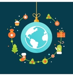 Earth Globe and Christmas Decorations vector image