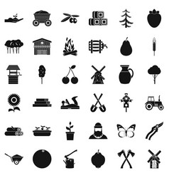 farming icons set simple style vector image