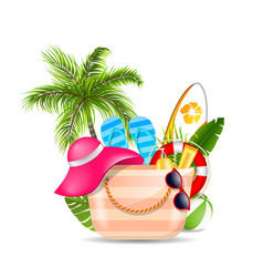 female bag with beach accessories set travel vector image