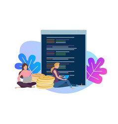 Female woman programmer coding on vector
