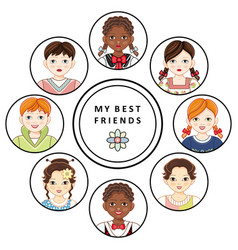 Flat multinational kids friends portrait vector
