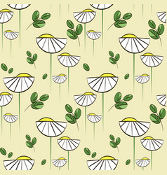 Floral pattern with chamomiles and green vector