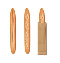French baguette bread in a paper bag set tasty vector
