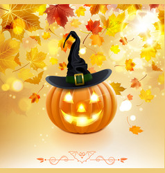 Halloween pumpkin on autumn background vector