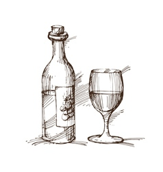 Hand drawn a bottle wine with a glass vector