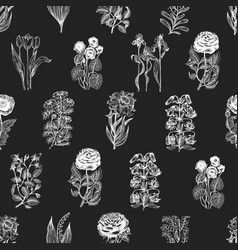 hand drawn flower seamless pattern flowers sketch vector image