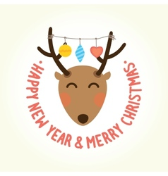Happy new year deer head vector image