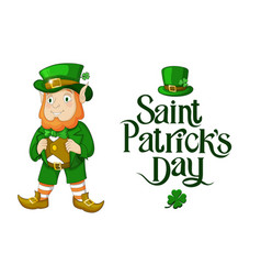 happy st patricks day of leprechaun vector image