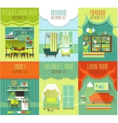 House Interiors Set with Furniture vector image