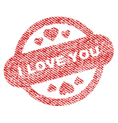 I love you stamp seal fabric textured icon vector