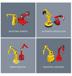 industrial robots and smart automatic machine set vector image
