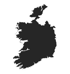 ireland map simple black white silhouette vector image