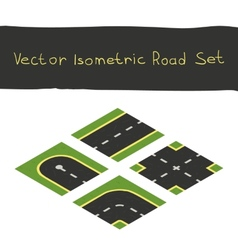 Isometric game road elements set vector image