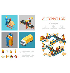isometric industrial factory infographic template vector image
