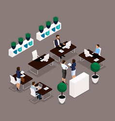 Isometric office room rear view vector