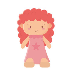 Kids toys cute little doll isolated icon design vector