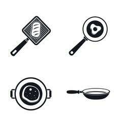 Kitchen griddle icon set simple style vector
