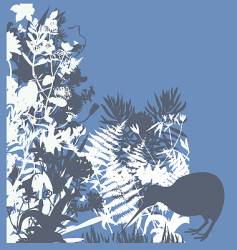 kiwi in bush vector image
