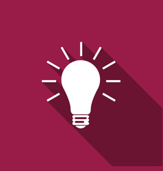 Light bulb flat icon with long shadow vector