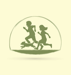 Little boy and girl running together with dog vector