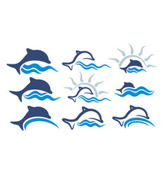 Logos with wave and dolphins vector