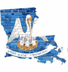 Louisiana map on a brick wall vector