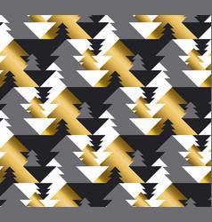 luxury geometric christmas tree seamless pattern vector image