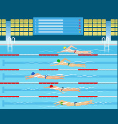male swimming racing in pool vector image