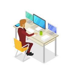 Manager work on computer isometric 3d icon vector