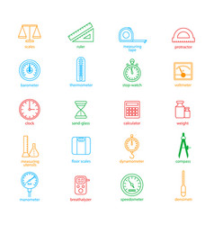 measuring signs color thin line icon set vector image