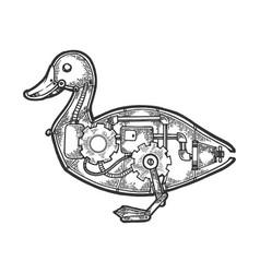 Mechanical duck bird animal sketch engraving vector