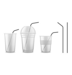 metal drinking straw reusable steel straw vector image