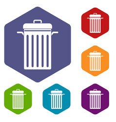 Metal trash can icons set hexagon vector