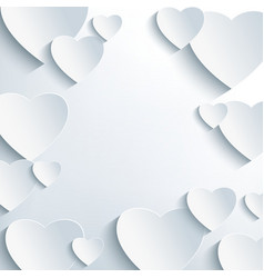 Modern grey background with 3d paper hearts vector image
