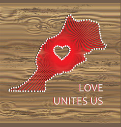 Morocco art map with heart string art vector