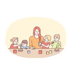 Nanny in kindergarten babysitter babysitting vector