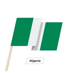 Nigeria ribbon waving flag isolated on white vector