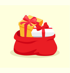 Open red bag full of christmas presents vector