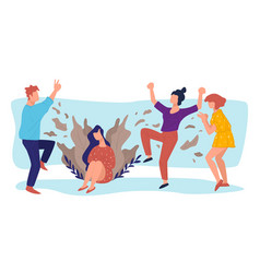 partying college or university students people vector image