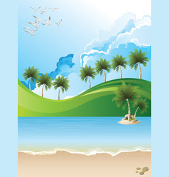 Picturesque tropical paradise landscape vector
