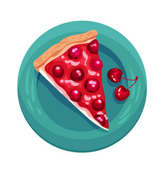 Pie or tart piece with cherry as dessert served on vector