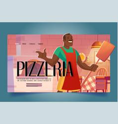 Pizzeria cartoon landing restaurant opening promo vector