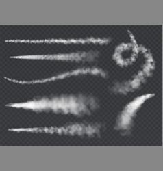 plane smoke trail jet trails white airplane smoke vector image