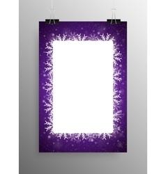 Poster Frame Falling Snow Violet Background vector image