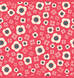 pretty red and cream floral seamless repeat vector image