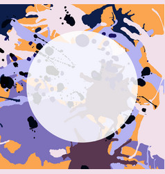 Purple lilac orange brown ink splashes round vector