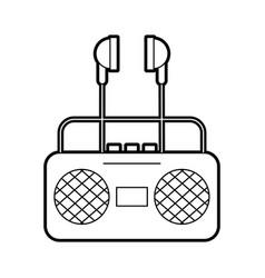 Radio music player with earphones vector