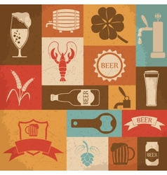 Retro beer icons set vector image