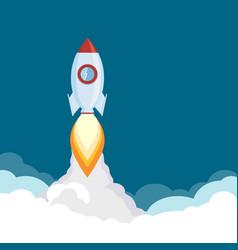 Rocket launch spaceship flies in sky vector