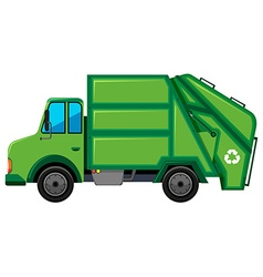 Rubbish truck with recycle sign vector